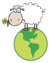 White Sheep Standing On A Globe, Carrying A Flower In Its Mouth