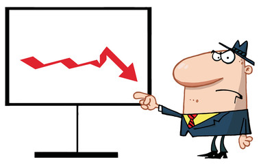 Grumpy Boss Pointing To A Decline Board