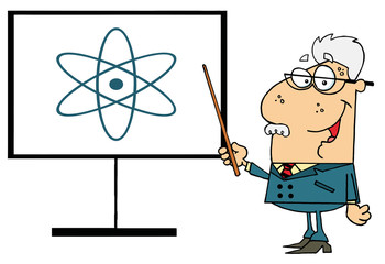 Senior Professor Pointing To An Atom Sign