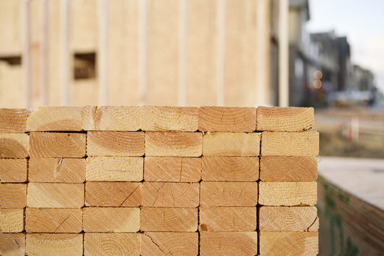 Closeup of Stacks of Lumber at a Construction Site