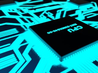 Processor with glowing blue paths in a dark