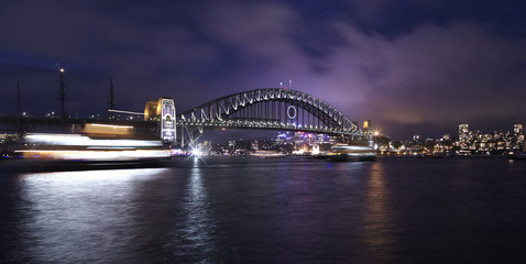 sydney harbor bridge at dark