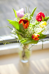 a spring bouquet with tulips