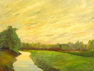 Foto op Canvas Meloen Oil painting