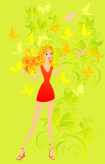 Fashion woman with butterfly, vector illustration
