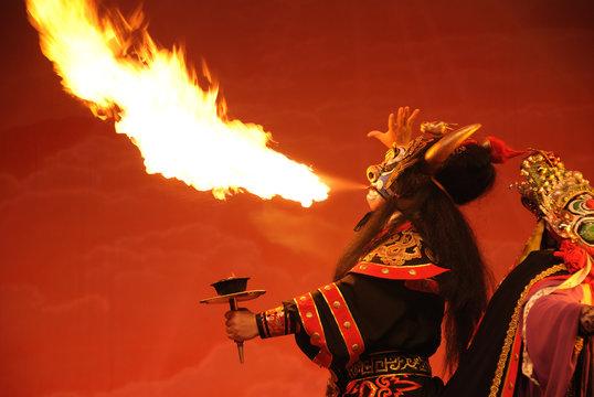 Sichuan opera spit fire