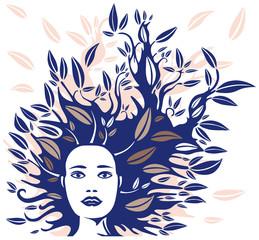 Visage Féminin et Chevelure en Feuillages