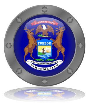 State of Michigan Flag Web Button (USA America MI Vector)