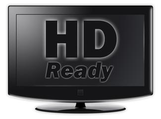 "Flatscreen TV with ""HD Ready"" wording on screen"