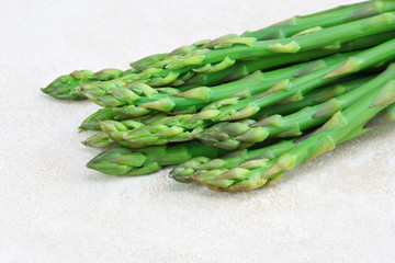 Asparagus on counter, close up with copy space.