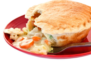 Chicken Pot Pie on Red Plate