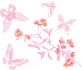 single cherry flower branch and butterflies