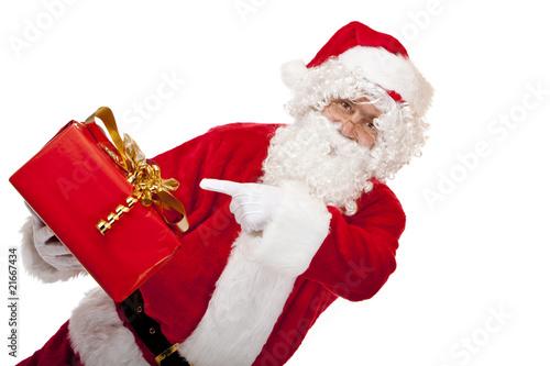 Nikolaus Mit Brille Zeigt Auf Rotes Geschenk Father Christmas