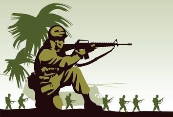 Keuken foto achterwand Militair Soldiers in Vietnam