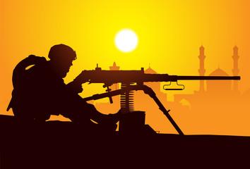 Fotorolgordijn Militair Gunner. Silhouette of a soldier with a machine gun