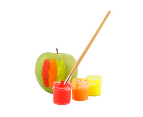 Paints, brush and apple isolated