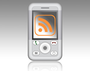 Mobile Device with RSS Symbol on screen