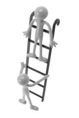 Miniature Figures on Ladder