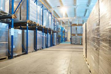 warehouse with rack arrangement