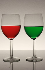 red and green wine in glass