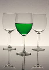 wine glasses with green wine
