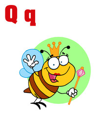 Funny Cartoons Alphabet-Queen Bee With Letters Q