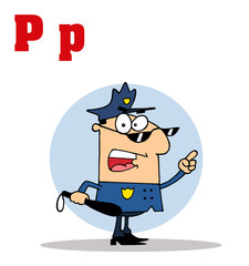 Funny Cartoons Alphabet-Cop With Letters C