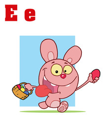 Funny Cartoons Alphabet-Easter Bunny With Letters E