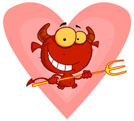 Happy little devil with pitchfork