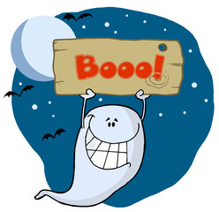 Ghost Holding Up A Wooden Boo Sign