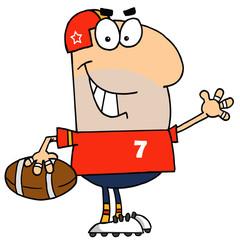 Caucasian Cartoon Football Waving Man