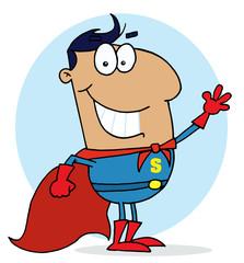 Hispanic Cartoon Super Hero Waving Man,background