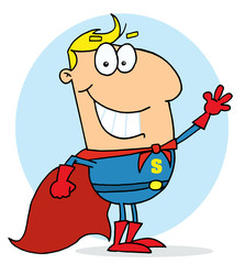 Cartoon Super Hero Waving Man,background