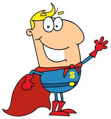 Cartoon Super Hero Waving Man