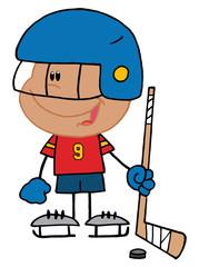 Hispanic Boy Playing A Hockey Goalie