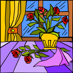 Wall Murals Classical abstraction dipinto astratto con vaso di rose rosse