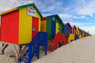 Staande foto Zuid Afrika bunte Strandhäuser bei Kapstadt
