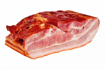 Smoked bacon chunk isolated over white background.