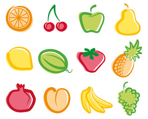 Set of simple images fruit
