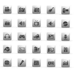 glossy grey buttons - entertainment - set 9