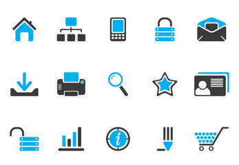 Internet and web icons - blue black series