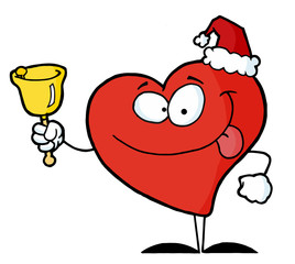 Happy Christmas Red Heart Ringing A Bell