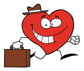 Business Heart Character Wearing A Hat And Running To Work