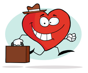 Happy Business Heart Character Carrying A Briefcase