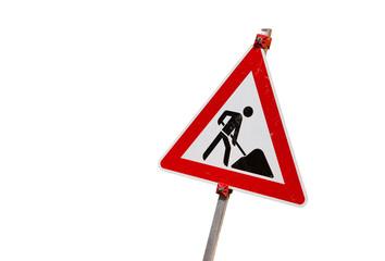 Baustellenschild freigstellt