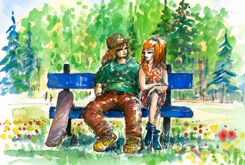 Boy and girl on the bench.