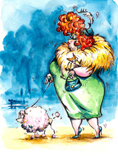 Fat lady  on the walk with poodle.