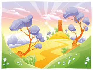 Printed roller blinds Castle Landscape with tower. Funny cartoon and vector illustration.