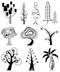 set collection, 9 types of silhouette tree