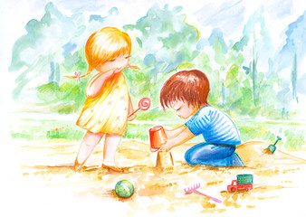 Two children play in sand.